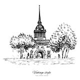 Admiralty spire of Saint Petersburg landmark, Russia, hand drawn engraving vector illustration isolated on white. Vintage style ink sketch building for