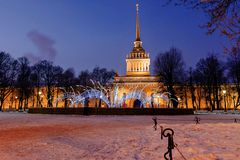 Admiralty in St. Petersburg in winter Royalty Free Stock Image