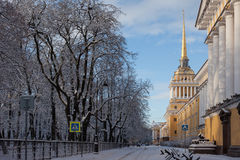 Admiralty in winter, Russia. St. Petersburg. Royalty Free Stock Photos