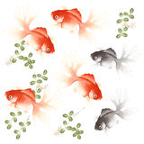 Admiration fish. I painted a fish with a writing brush Royalty Free Stock Photos
