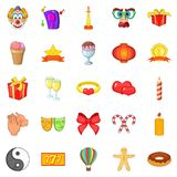 Admiration icons set, cartoon style Stock Photos