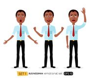 Admiration suprised african american business man waving her han Royalty Free Stock Images