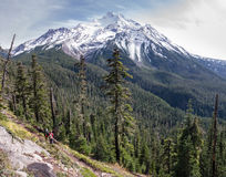 Admiration. Two women admiring the view of Mt Jefferson, along the Whitewater trail in the Mt Jefferson Wilderness Area,  Oregon Stock Photography
