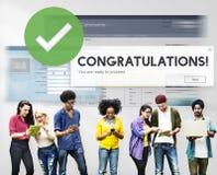 Admiration Victory Concept d'accomplissement de félicitation images libres de droits