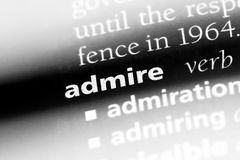 Admire. Word in a dictionary.  concept stock image