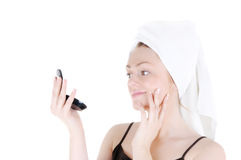 Admire your nice smooth skin stock photo
