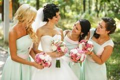 Admirer de demoiselles d'honneur de la jeune mariée image stock