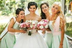 Admirer de demoiselles d'honneur de la jeune mariée photos stock