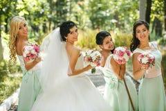 Admirer de demoiselles d'honneur de la jeune mariée photographie stock