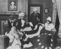 Admiring the Betsy Ross flag stock photography