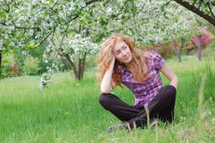 Admiring blooming tree Stock Images