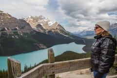Admiring Bow Summit and Peyto Lake Stock Photography