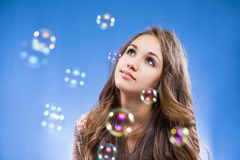 Admiring the bubbles. Stock Image