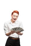 Admiring business woman counting money Stock Photo