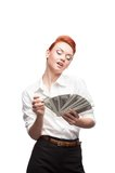 Admiring business woman counting money Stock Photos