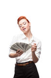 Admiring business woman counting money Royalty Free Stock Images
