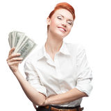 Admiring business woman holding money Royalty Free Stock Images