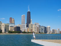Admiring the Chicago Skyline Stock Photos