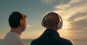 He and she admiring evening sun over the sea stock video