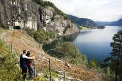 admiring fjord 免版税库存照片