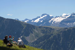 Admiring French Alps landscape stock image