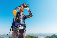 Admiring the majestic view. Royalty Free Stock Photography