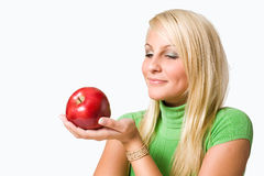 Admiring Mr. Apple. Royalty Free Stock Images