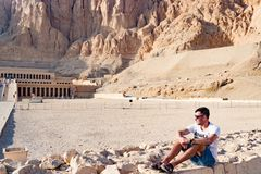 The ancient temple of Hatshepsut in Luxor, Egypt. Admiring panorama of famous ancient temple of Hatshepsut in Luxor, Egypt Royalty Free Stock Photos