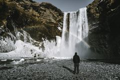 Admirnig персоны красота водопада Skogafoss с радугой обнаружила местонахождение в Исландии стоковая фотография rf