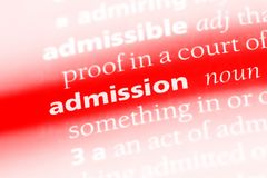 Admission. Word in a dictionary.  concept stock photography