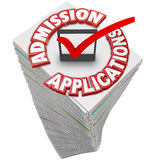 Admission Applications Paperwork Document Stack Pile College App. Admission Applications 3d red words on a stack or pile of paperwork or documents from students Stock Photo