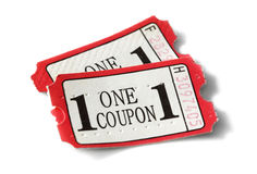Admission coupon ticket. Admission coupon or ticket isolated on white Royalty Free Stock Photo