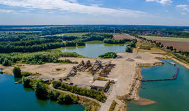 Aerial photo of three gravel pits with Peine, Germany Royalty Free Stock Photo