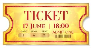 Admission golden ticket template. Vector mockup movie ticket tear-off vector illustration