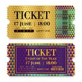 Admission golden ticket template. Vector mockup movie ticket tear-off with gold triangle pattern vector illustration