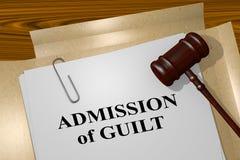 Admission of Guilt - legal concept. 3D illustration of ADMISSION of GUILT title on legal document vector illustration