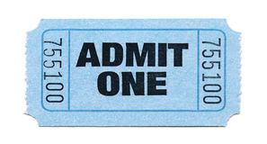 Admission-Ticket. An Isolated Admit-One-Ticket Royalty Free Stock Photography