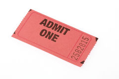 Admission Ticket. Torn off theatre, amusement ride, or event ticket Royalty Free Stock Photos