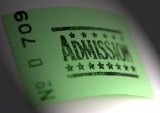 Admission ticket. For cinema or other event Stock Images