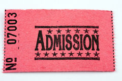 Admission Ticket. An admission ticket set against white background Royalty Free Stock Photos