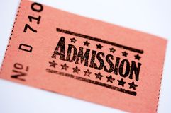 Admission ticket. For cinema or other event Stock Image