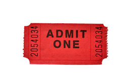 Admission Ticket (with clipping path). Admission ticket isolated on white background with clipping path stock photos
