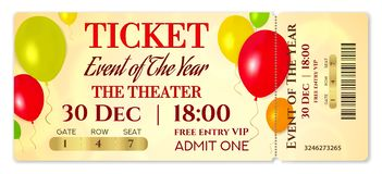 Admission ticket template. Vector mockup concert ticket tear-off with colorful air balloons stock illustration