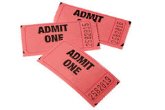 Admission Tickets. Three Admission tickets stacked on top of each other royalty free stock photography