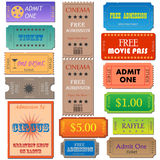 Admission Tickets. Image of various admission and cinema tickets royalty free illustration