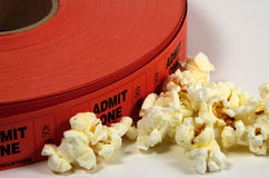 Admission Tickets. Photo of Admit One Tickets and Popcorn Royalty Free Stock Images