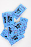 Admission tickets. Blue admission tickets, admit one written on them Royalty Free Stock Image