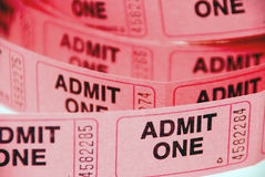 Admission Tickets. A small roll of retail admission tickets royalty free stock photos