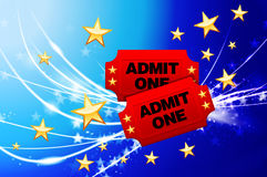 Admission Tickets on Abstract Modern Light Background Royalty Free Stock Images