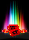 Admission Tickets on Abstract Spectrum Background Stock Image